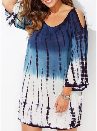 Plus Size Tie Dye Cold Shoulder Sleeve Shift Above Knee Casual Vacation Dress
