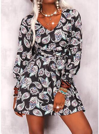 Imprimeu Mâneci Lungi Bir Çizgi Deasupra Genunchiului gündelik/Boho Patenci Elbiseler