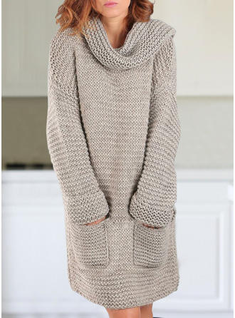 Solid Chunky knit Pocket Turtleneck Casual Long Sweater Dress