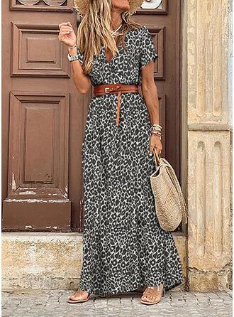 lampart Krótkie rękawy W kształcie litery A Łyżwiaż Casual Maxi Sukienki