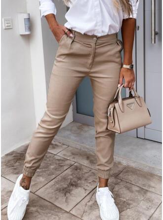 Sólido Recortada Casual Bolsillo Botones Pantalones
