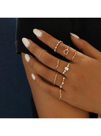 Elegante Liga Cristal Conjuntos de jóias Anéis (Conjunto de 9)