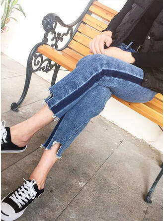 Renkli klişe kot Kırpılmış gündelik Kot pantolon
