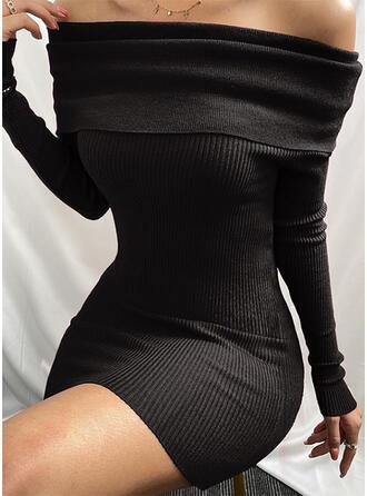 Sólido Manga Larga Ajustado Sobre la Rodilla Pequeños Negros/Sexy/Casual Vestidos