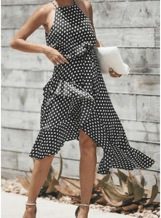Groszki Bez rękawów W kształcie litery A Asymetryczna Casual Łyżwiaż Sukienki