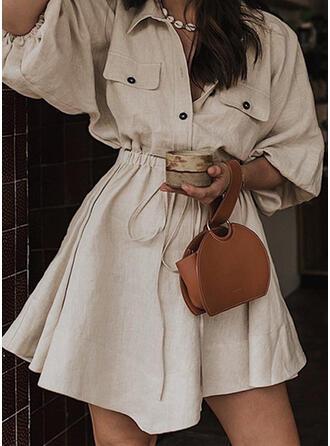 Solid Mâneci Lungi Bir Çizgi Deasupra Genunchiului gündelik Elbiseler