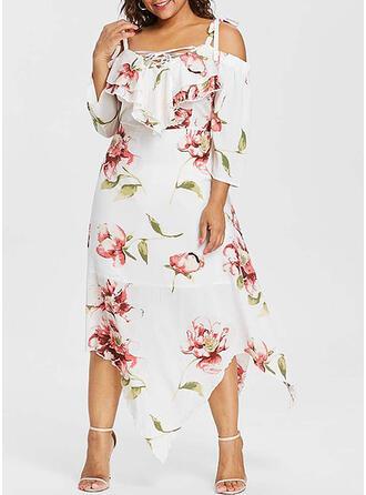Pluss størrelse Blomstrete Trykk Trekvart ermer Cold shoulder-ermer A-line kjole Midi Avslappet Ferie Kle