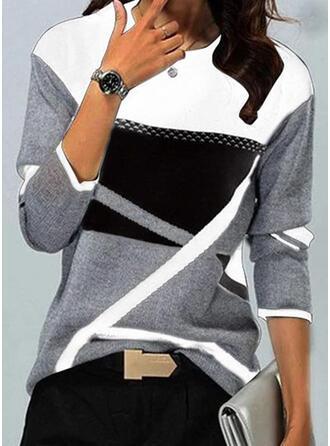 Renkli klişe Imprimeu Guler Rotund Mâneci Lungi Tişörtler