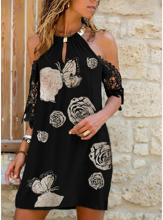 Lace/Floral/Animal Print Short Sleeves/Cold Shoulder Sleeve Shift Above Knee Casual/Vacation Dresses