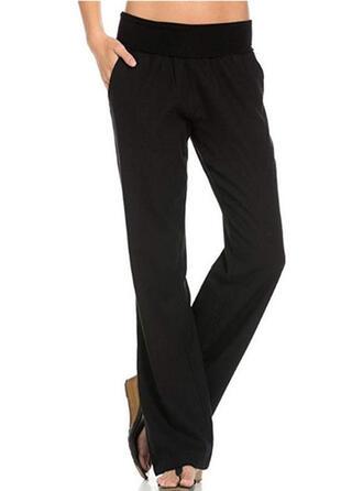 buzunare înfășurate Lung Casual Elegant Pevný Simplu Pantaloni