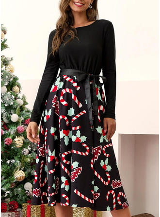 Imprimeu Mâneci Lungi Tip A-line Retro/Crăciun/Casual/Elegant Midi Elbiseler