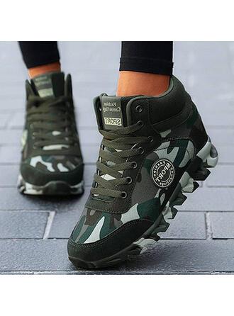 Bayanlar Gerçek deri Tuval Sivri topuk Ayak bileği çizmeler Düşük Üst Yuvarlak ayak Ile Bağcıklı ayakkabı Ekleme Rengi ayakkabı
