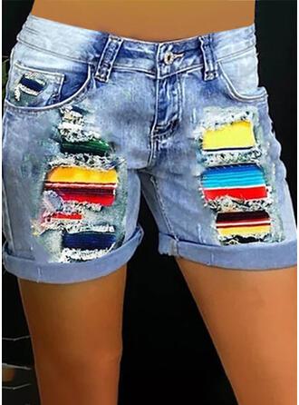 Colorido Estampado Jean Acima do joelho Casual Tamanho positivo Costura Bolso Button Calças Calção Jeans