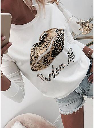 leopard Guler Rotund Mâneci Lungi Hanorac