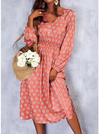 Imprimeu Mâneci Lungi Bir Çizgi Patenci gündelik Midi Elbiseler