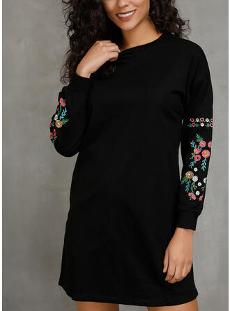 Embroidery/Solid Long Sleeves Shift Above Knee Casual Dresses