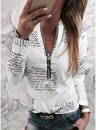 Распечатать Фигура V шеи Длинные рукова Повседневная Блузы