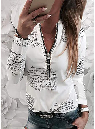 Figure V-Neck Long Sleeves Casual Blouses