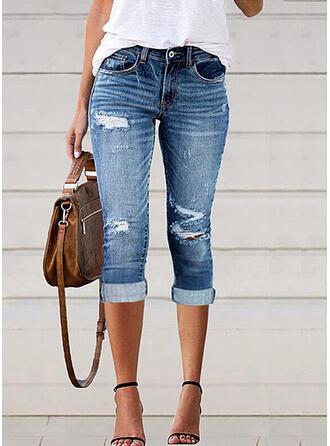 Pevný džínovina Capris Plus velikost Kancelář / Obchod hlubokým výstřihem patch Bandáž Kalhoty Denim & Džíny