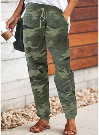 Plus Size Camouflage Drawstring Casual Sporty Pants