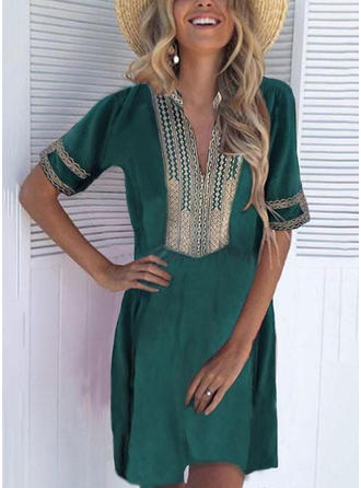 Print 1/2 Sleeves Shift Above Knee Casual/Boho/Vacation Tunic Dresses