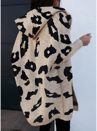 Leopardo Capucha Casual Cárdigan