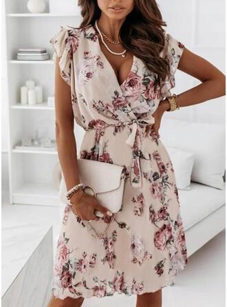 Imprimeu/Floral Mâneci Scurte Tip A-line Deasupra Genunchiului Elegant Wrap/Patenci Elbiseler