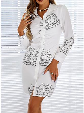 Imprimeu/Literă Mâneci Lungi Manşon Deasupra Genunchiului gündelik Cămaşă Elbiseler