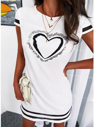 Tisk/Pruhované/Srdce Krátké rukávy Šaty Shift Nad kolena Neformální Tunika Šaty