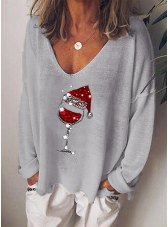 Sequins V-Neck Long Sleeves Casual Christmas T-shirts