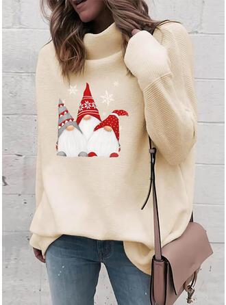 Impresión Cuello De Tortuga Casuales Navidad Suéteres