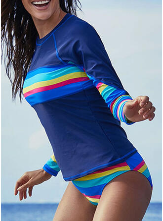 Stripe Print Round Neck High Neck Sports Vintage Boho Tankinis Swimsuits