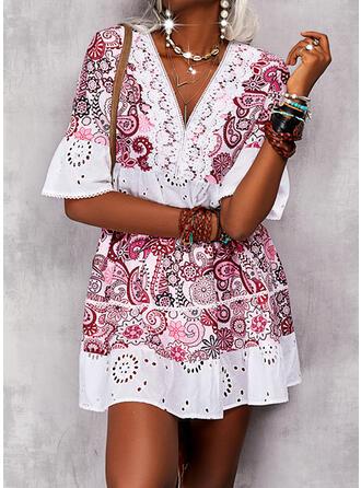 Imprimeu Mâneci la Jumătate Flare Sleeve Shift Elbiseleri Deasupra Genunchiului gündelik/Boho Tunică Elbiseler