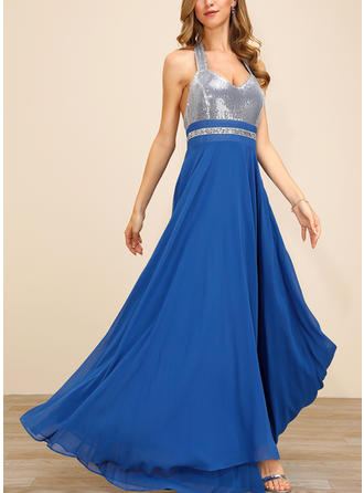 Sequins/Solid Sleeveless A-line Party Maxi Dresses