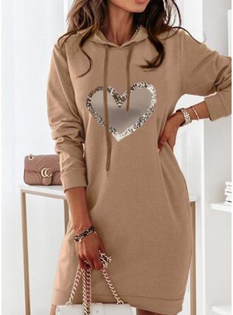 Imprimeu/Kalp Mâneci Lungi Shift Elbiseleri Deasupra Genunchiului gündelik Hanorac Elbiseler
