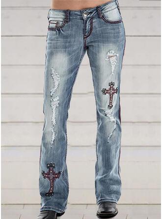 Bestickt Übergröße Zerrissen Elegant Dünn Denim Jeans