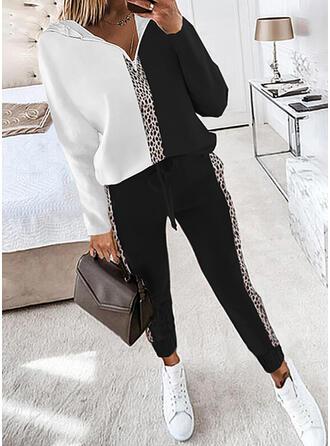Leopard Color Block Fritids Extra stor storlek sweatshirts & Tvådelade kläder uppsättning