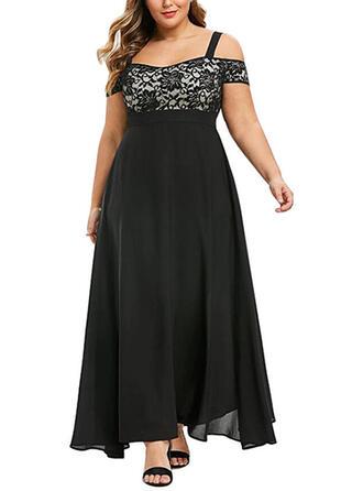 Pluss størrelse Blonder Kortermer A-line kjole Maxi Elegant Party Kle