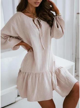 Solid Mâneci Lungi Shift Elbiseleri Deasupra Genunchiului gündelik Tunică Elbiseler