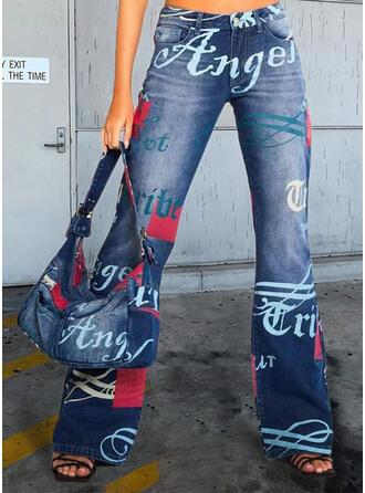Imprimeu Literă kot Uzun gündelik Kot pantolon