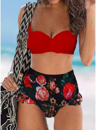 Floral High Waist Print Push Up Strap V-Neck Sexy Vintage Fresh Bikinis Swimsuits