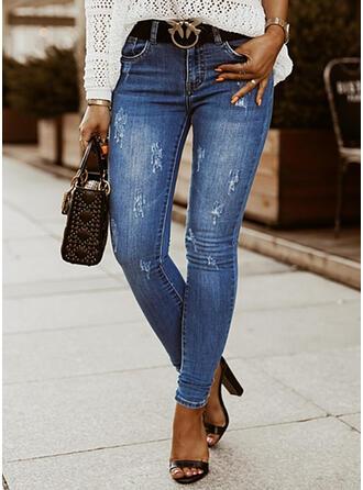 Sólido Jean Grandes Elegante Tamanho positivo Bolso rasgado Jeans
