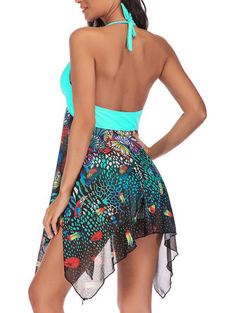 Tropical Print Halter Sexy Swimdresses Swimsuits