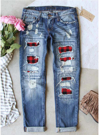 Patchwork Plaid Plus Size Ripped Casual Vintage Denim & Jeans