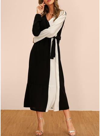 Couleur De Bloc Manches Longues Droite Décontractée/Fête Midi Robes