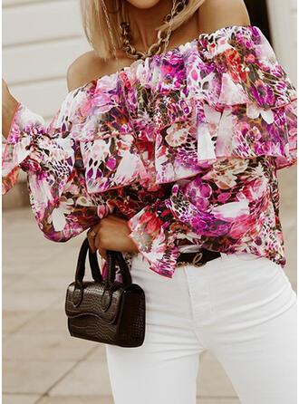 Estampado Floral Sem Ombros Manga Comprida Casual Blusas