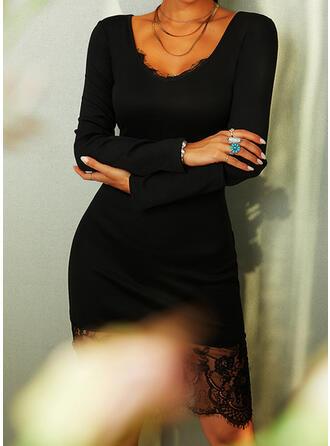 Koronka/Jednolita Długie rękawy Bodycon Długośc do kolan Mała czarna/Przyjęcie/Elegancki Ołówkowa Sukienki