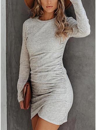 Jednolita Długie rękawy Bodycon Nad kolana Casual Sukienki