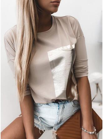 baskı Yuvarlak Yaka Uzun kollu Günlük Pólók