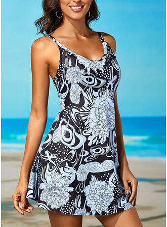 Print Strap U-Neck Beautiful Casual Swimdresses Swimsuits